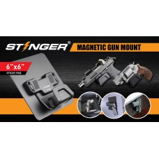 STINGER MAGNETIC GUN MOUNT W/ SAFETY TRIGGER GUARD PROTECTION, STICKY PAD NON-DRILL SOLUTION